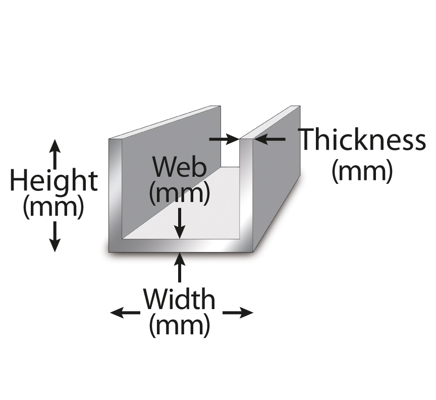 U-shaped bar with height, web, width, and thickness labeled.