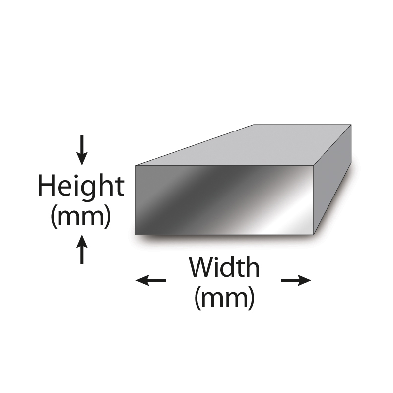 Flat rectangular bar that has the height and width labeled.