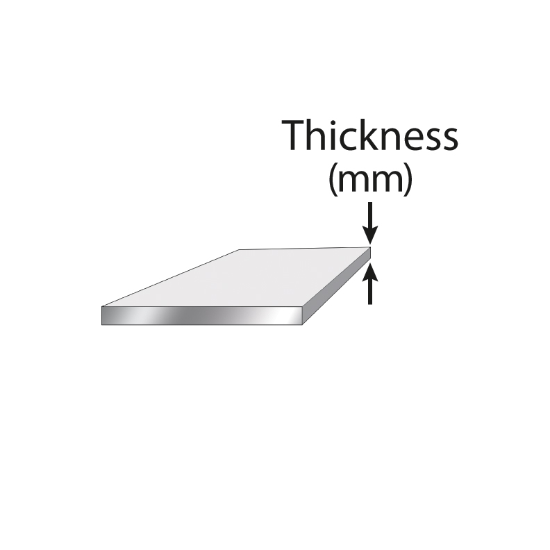 Sheet plate with the thickness labeled at the far end.