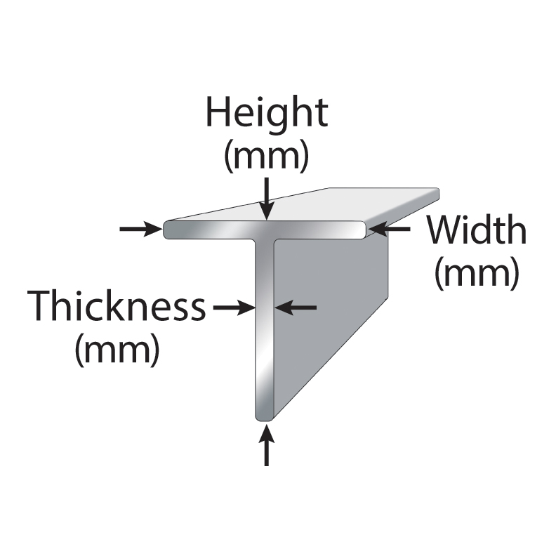 Tee that has the Height, thickness, and width labeled.